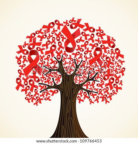 Red AIDS ribbons concept tree. Vector illustration layered for easy manipulation and custom coloring. - stock vector