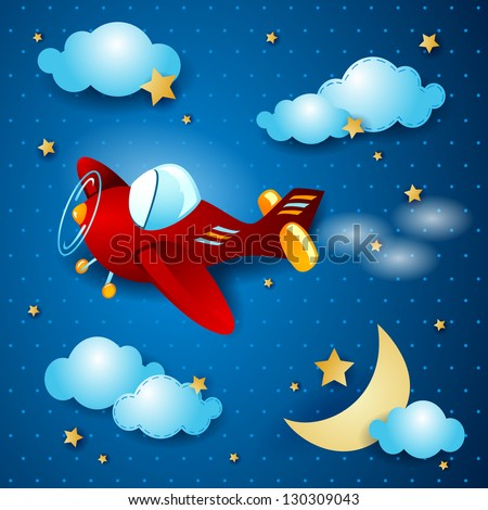 Red airplane at night, vector - stock vector