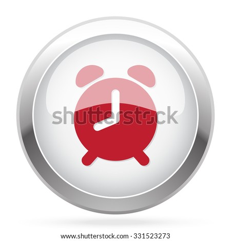 Red Alarm Clock icon on chrome web button - stock vector
