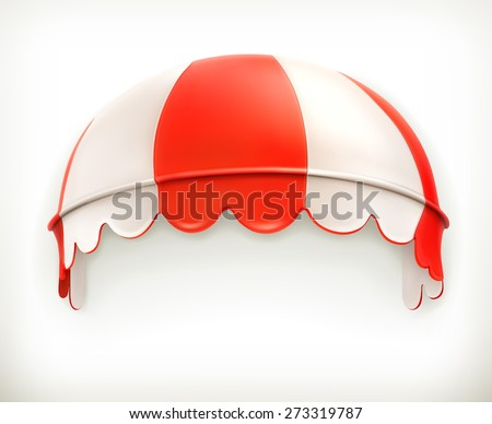 Red an white striped awning, excellent canopy, protection from sun and rain, vector icon - stock vector