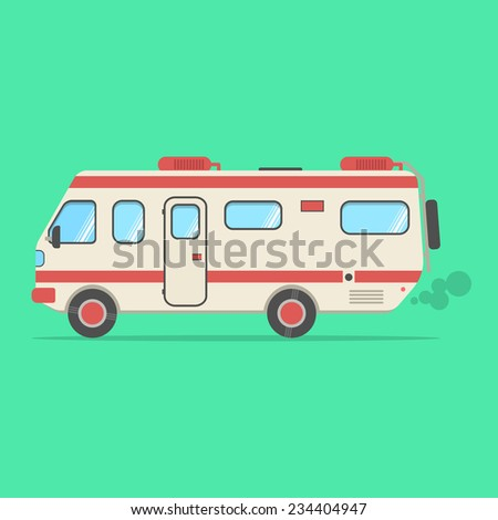 red and beige travel camper van isolated on green background. concept of outdoor recreation and travel around the world. flat style design trendy modern vector illustration - stock vector