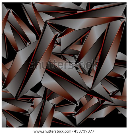 Red and black abstract fractal background pattern illustration  - stock vector