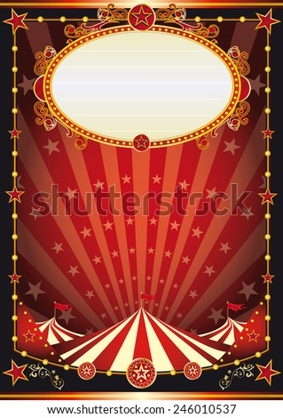 red and black circus background. A vintage circus background with sunbeams and stars for your entertainment - stock vector