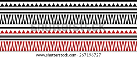 Red and Black Maori - Polynesian Bracelets Tatto Pattern - stock vector