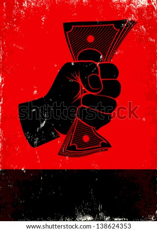 Red and black poster with fist and money - stock vector