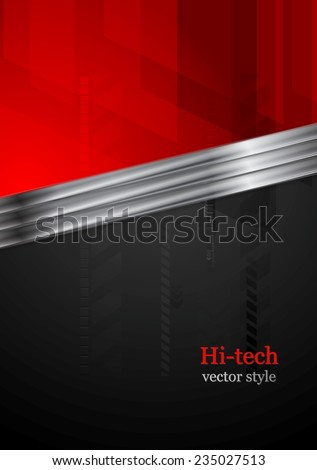 Red and black tech background with metal stripe. Vector design - stock vector
