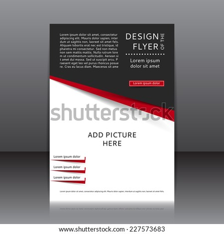 Red and black vector design of the flyer. Poster template for your business. - stock vector