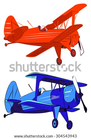 Red and blue biplanes vector illustration. Isolated on white background. - stock vector