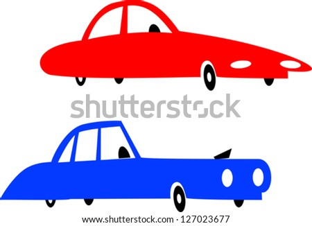 Red and blue cars - stock vector