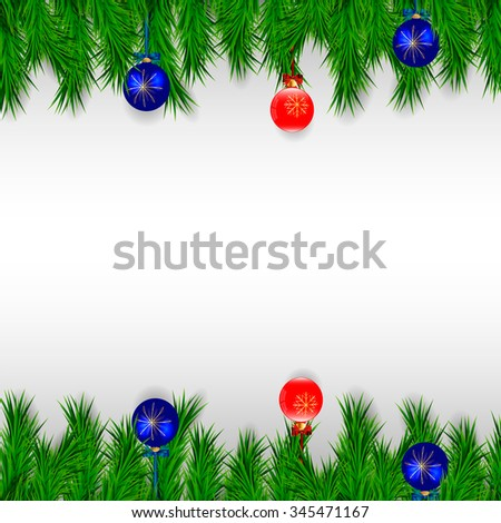 red and blue Christmas ball with golden snowflakes and bow hanging on a Christmas tree on a white background  - stock vector