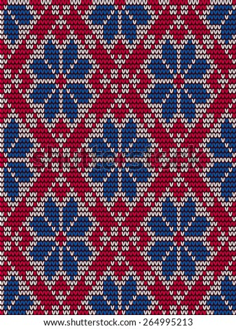 Red and blue embroidery seamless pattern in scandinavian style with large repeat floral motifs and stitch design in a geometric pattern - stock vector