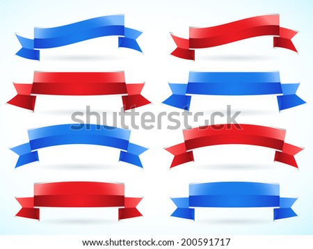 Red and blue ribbon set - stock vector