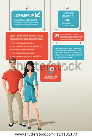 Red and blue template for advertising brochure with cartoon couple - stock vector