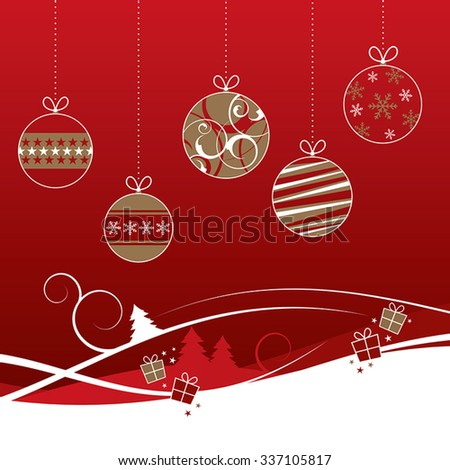 Red and gold Christmas baubles with winter background - stock vector