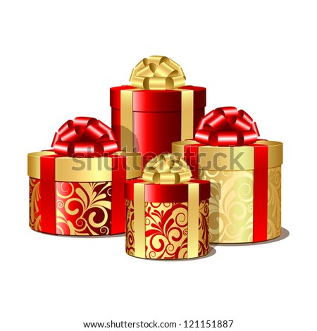 Red and gold gift boxes. Vector illustration - stock vector