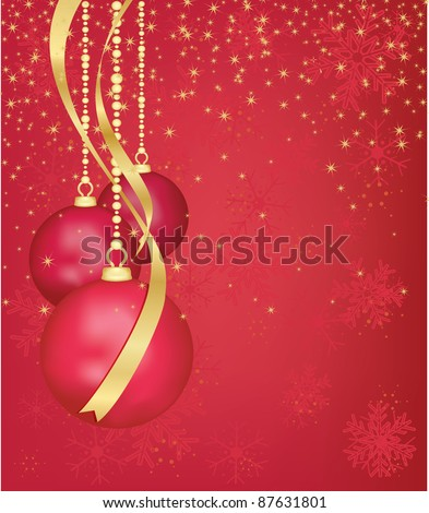 red and gold hanging christmas decorations - stock vector