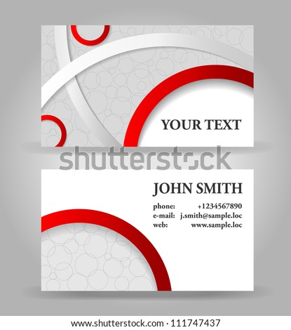 Red and gray modern business card template. - stock vector