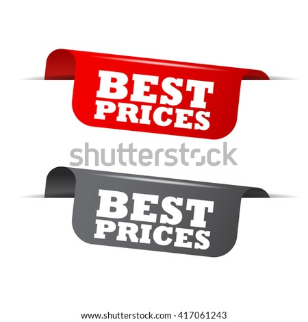 Red and gray vector illustration isolated sticker banner best prices two versions. This element is well adapted to web design. - stock vector