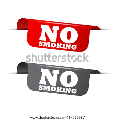 Red and gray vector illustration isolated sticker banner no smoking two versions. This element is well adapted to web design. - stock vector