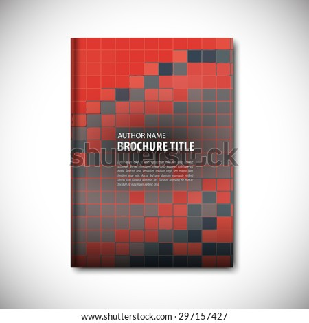 Red and gray vector template layout for brochure, flyer, booklet, cover.Green color version. - stock vector