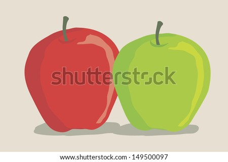red and green apple in a simple way - stock vector