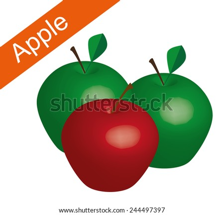 red and green apple in white background, red apple vector, green apple vector, apple vector - stock vector