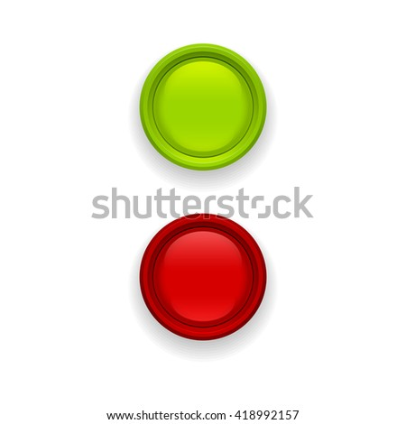 Red and green button isolated on white background. Glossy red and green button. - stock vector