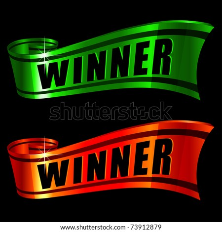red and green glossy ribbons with word winner on it - stock vector