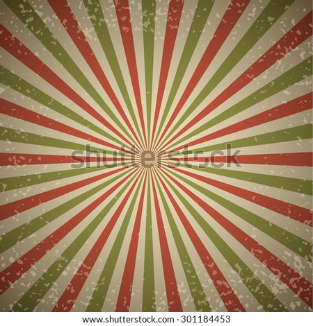 Red and green rays vintage burst background. - stock vector