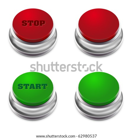 Red and green START/STOP button - vector illustration - stock vector