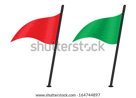 red and green triangular flag - stock vector