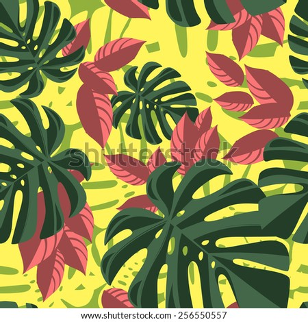 Red and green tropical foliage pattern on yellow background - stock vector