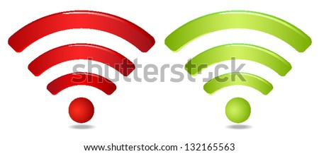 Red and green wireless network symbol - stock vector