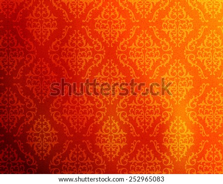Red and orange abstract damask pattern background / decorative wallpaper - stock vector