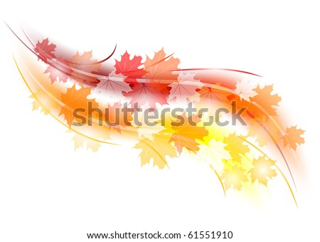 red and orange autumn shape - stock vector