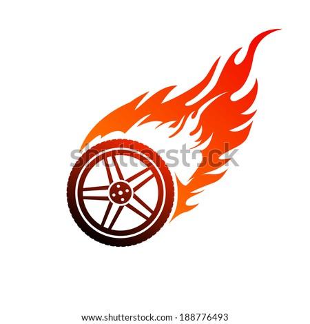 Red and orange burning car wheel - stock vector