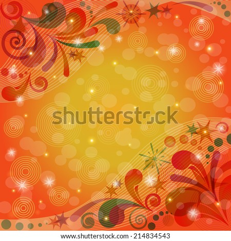 Red and orange Christmas background for holiday design with abstract colorful patterns and stars. Eps10, contains transparencies. Vector - stock vector