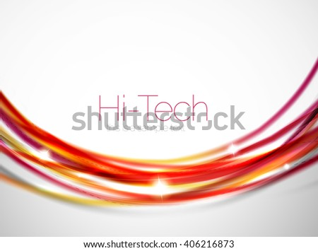 Red and orange color lines in swirl circle vector background - stock vector