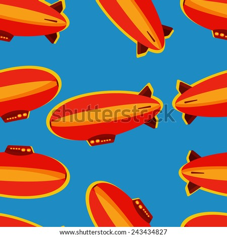 Red and orange zeppelin seamless pattern - stock vector
