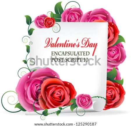 Red and pink roses bouquet and white paper - stock vector