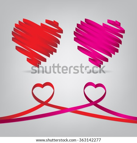 Red and pink satin glossy ribbon heart over gray background - stock vector