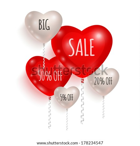 Red and white balloons made in shape of hearts. Sales and discounts concept - stock vector
