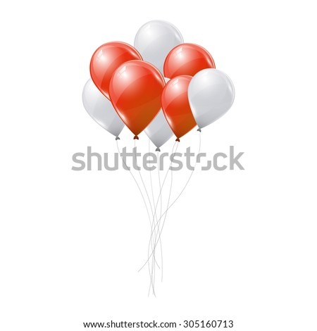 Red and white balloons on white background - stock vector