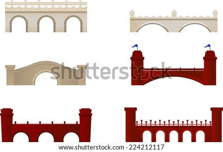 Red and White Brick Bridge Arch Architecture Building Monument vector illustration. - stock vector