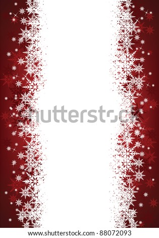 red and white christmas snowflake background with space for text - stock vector