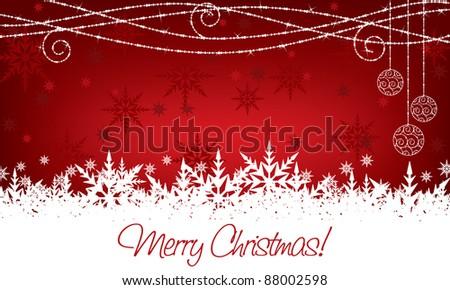 red and white christmas snowflake decoration with seasonal message - stock vector