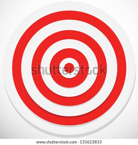 Red and White darts target - stock vector