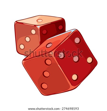 Red and white dice - stock vector