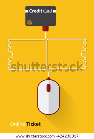 Red and white mouse in online ticket concept with credit card, Line ticket in flat design, Vector, Illustration - stock vector