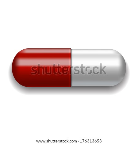 Red and white pill on white background. Vector illustration - stock vector